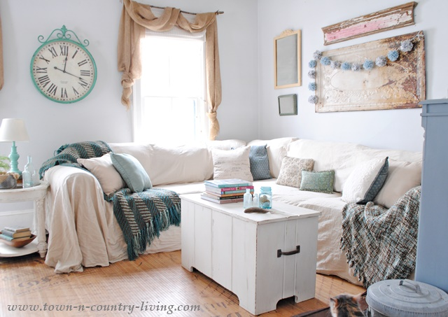 No sew drop cloth slipcovers look like linen at a fraction of the cost.