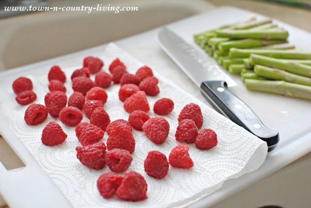 Raspberries and Asparagus for a Farmhouse Breakfast