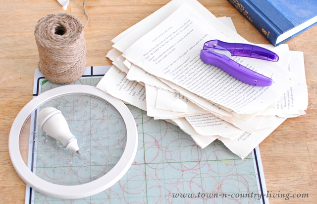 Supplies you need to make a simple book page garland