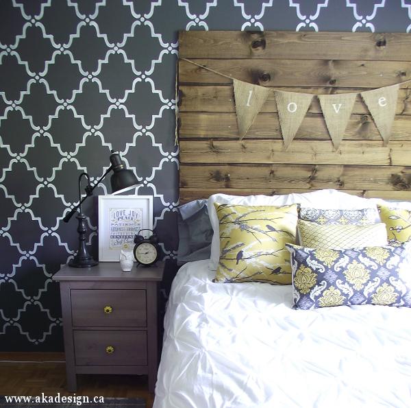 Master Bedroom with DIY wood plank head board