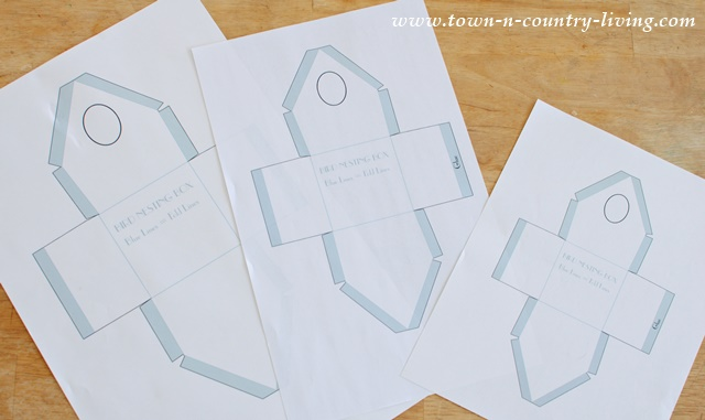 Template for making paper birdhouses.