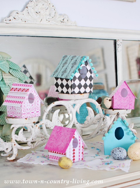 DIY Paper Birdhouses. See how easy it is to make these charming little houses to add to your spring decor!