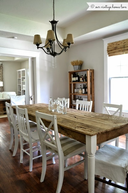 Farmhouse table creates plenty of charm in an older home's dining room.
