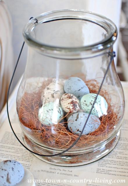 Bird Nest in Glass Lantern from Kirkland's