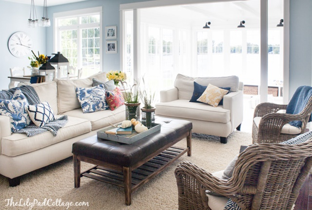 Lakeside Living Room in a Charming Home