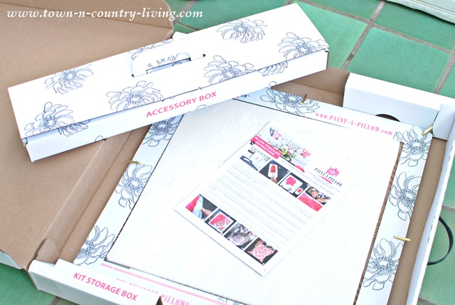 Paint-a-Pillow Kit comes with down pillow inserts, pillow covers, stencil and paints.