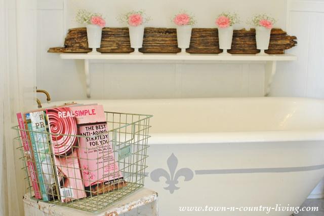 Pink in a Farmhouse Bathroom