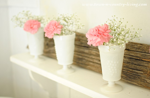Pink Carnations in White Milk Glass Tumblers