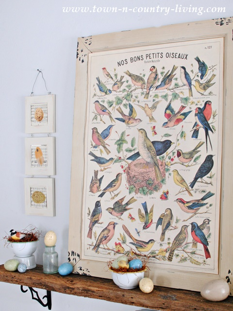 Bird Themed Spring Mantel