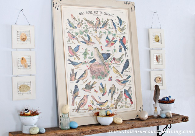 For the Birds Spring Mantel