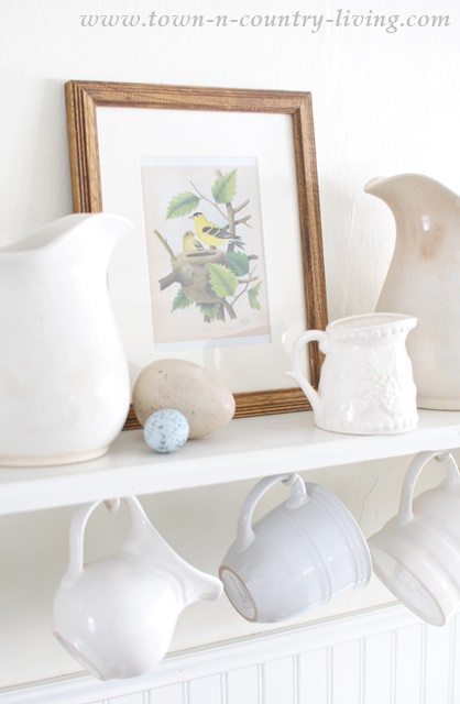 Spring Vignette mixing bird prints and white ironstone pieces. Free printable of 6 vintage bird pictures.