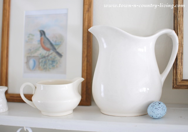 Create a spring vignette with white ironstone pieces and vintage bird prints. Free printable of 6 birds.