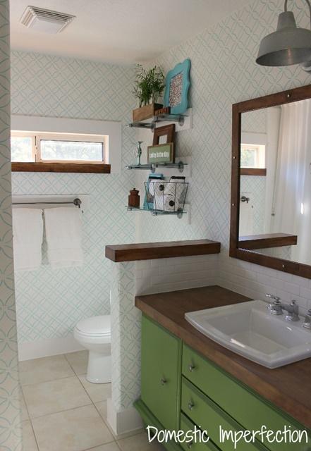 Master Bathroom with Painted Dresser used as Vanity
