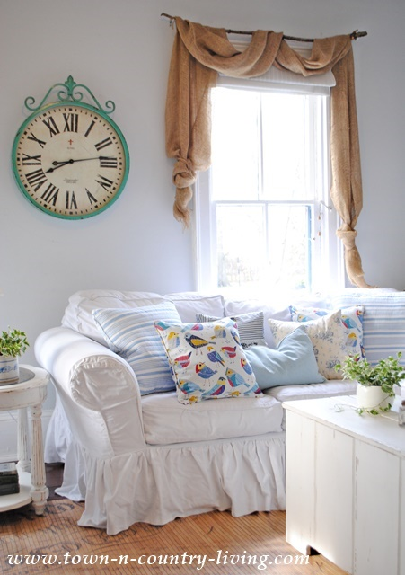 Spring Pillows in the Family Room