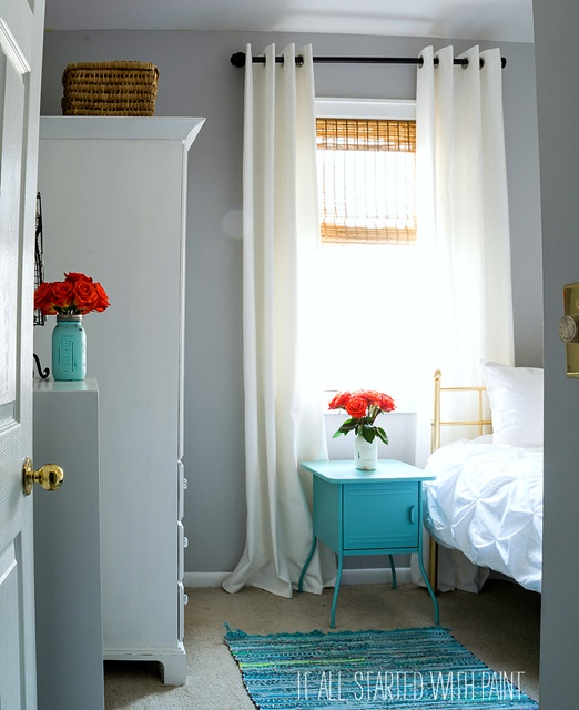 Gray and Aqua Girl's Bedroom