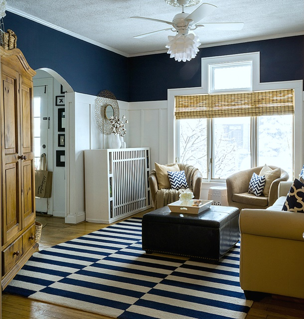 Navy and White Coastal Style Living Room