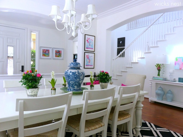 Charming home tour wicks nest town country living for Black n white dining rooms