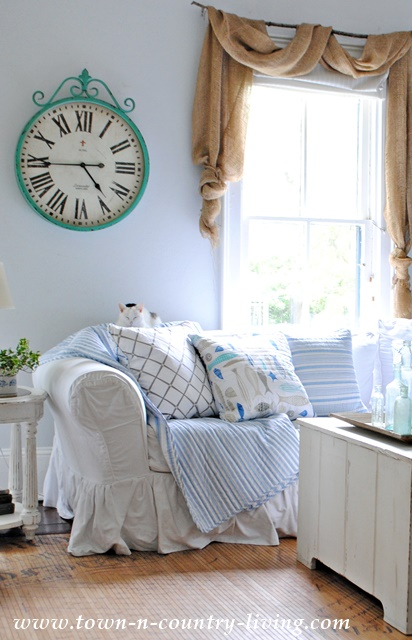 Farmhouse Family Room with Pillows from HomeGoods