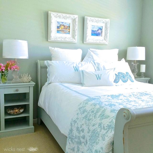 Monogrammed Bedding in Guest Bedroom
