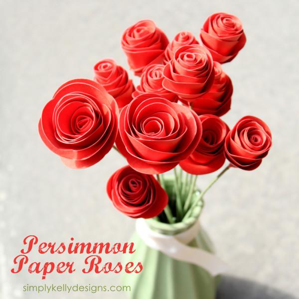 DIY Persimmon Paper Roses