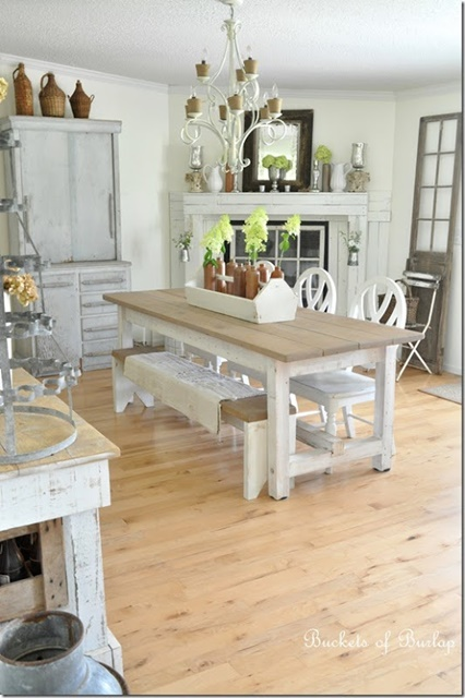 Vintage White Farmhouse Dining Room