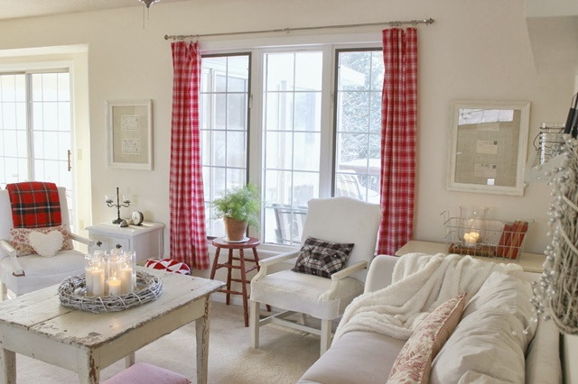 White and Red Cottage Style Living Room