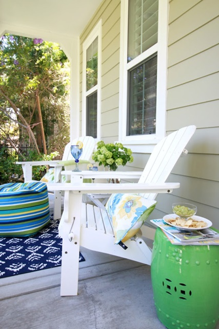 Front Porch with Adirondack Chairs