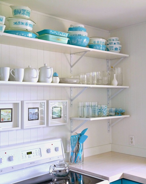Pyrex Collection in a Cottage Style Kitchen in Turquoise and White