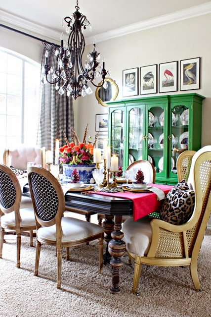 Dining Room with Emerald Green Hutch