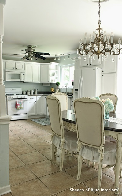 Eat in Kitchen with White Painted Cabinets