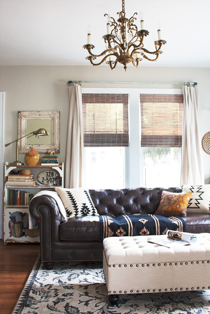 Eclectic Boho Living Room at Thoughts from Alice