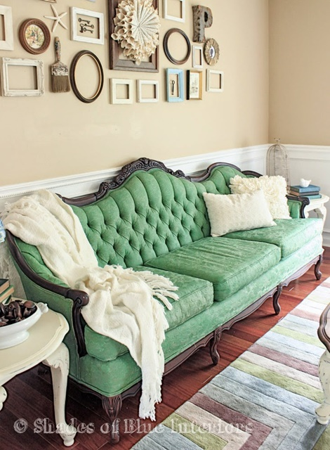 Green Sofa. Fabric painted with Annie Sloan Chalk Paint