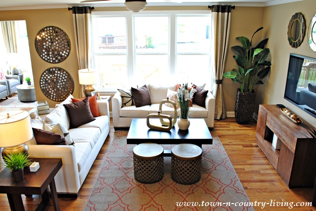 Industrial chic model home town country living for Industrial farmhouse family room