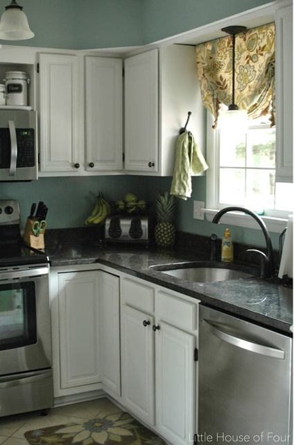 Kitchen with painted cabinets
