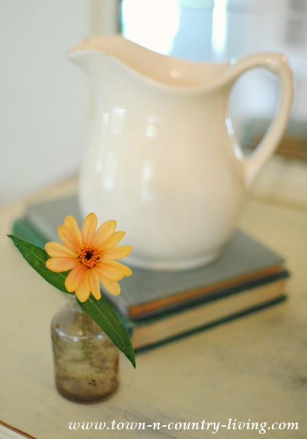 Fall Vignette with Zinnia in Vintage Bottle