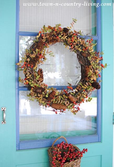 Fall Wreath on Farmhouse Door