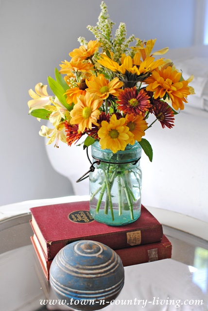 Fall Vignette with Autumn Flowers