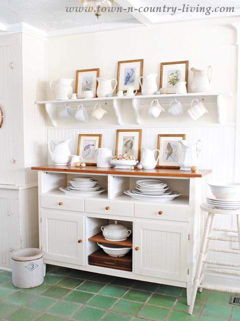 White Ironstone Collection in a Farmhouse Kitchen