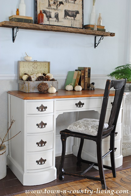 Painted Desk In Varnished Ivory Town Amp Country Living