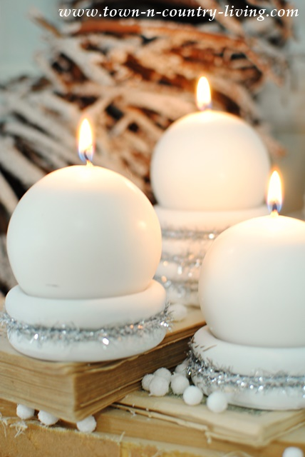 Christmas Candle Holders Made from Wooden Curtain Rings