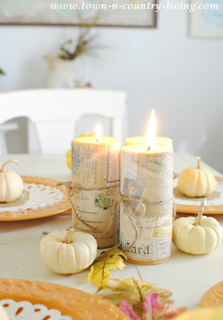 Thanksgiving Centerpiece with Candles and Gourds