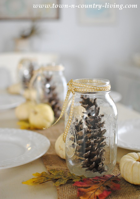 Centerpiece with Mason Jars and Pine Cones